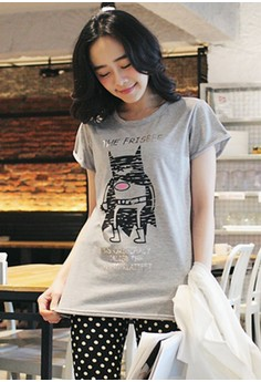 [IMPORTED] Frisbee Bat Graphic Tee - Grey
