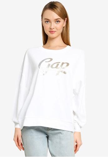 GAP white V-Gap Ombre Rlxd Po Cr Sweater 6748DAA612F313GS_1
