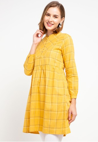 ULTRAVIOLET yellow Bib Casual Dress 4DA29AAD70AEABGS_1