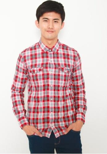 DENIZEN red DENIZEN Men's Slim Fit Long Sleeve Shirt - Red DZ-39003-0271 A24C6AA6173D33GS_1