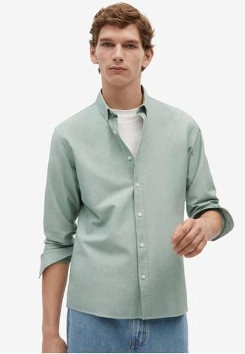 MANGO Man beige Regular Fit Oxford Cotton Shirt 0AD20AA4AA7CDFGS_1