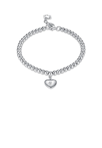 Glamorousky silver 925 Sterling Silver Simple Romantic Heart Bead Bracelet BE2BCAC01F2326GS_1