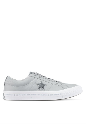 Converse grey and white One Star Ox Sneakers CO302SH0SW6VMY_1