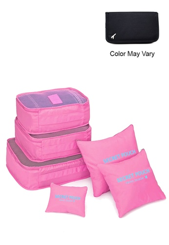 Manmico pink 6 in 1 Secret Pouch Travel Organizer Set  with free Passport Travel Pouch (Color May vary) MA606AC36UTFPH_1