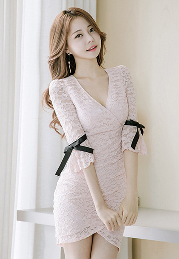 Pink Dress Neckline 2018 New UA032005 Lace Piece V One Pink Sunnydaysweety 0qOqIvUn