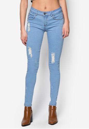 刷皮貼身窄管牛仔褲, 服飾, 緊身zalora 折扣碼牛仔褲