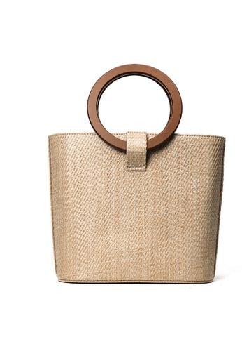 Lara beige Women's Woven Straw Top-Handle Bag ACAD6AC3987E56GS_1
