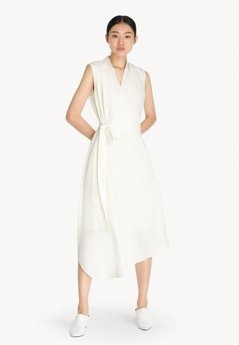 Pomelo white Asymmetrical Side Draped Dress - White 6B592AAA407980GS_1