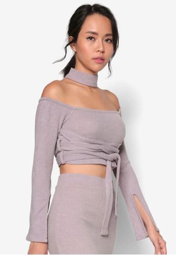 羅紋esprit hk outlet針織圍脖高領露肩纏帶長袖衫, 服飾, 服飾