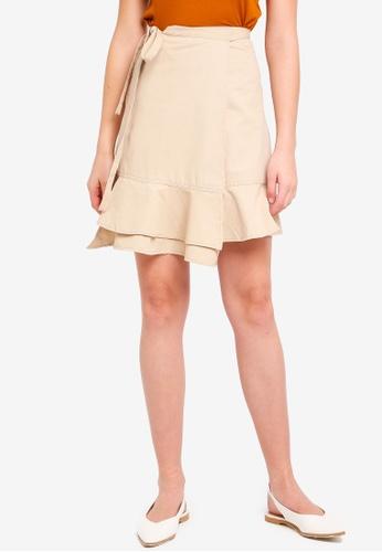 Shopsfashion beige Wrapped Ruffles Hem Skirt 16DCAAA6DBC786GS_1
