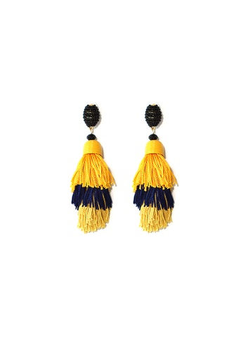 FAWNXFERN black and yellow and silver Ame Layered Tassel Earrings in Yellow 77374AC25DE867GS_1