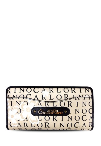 Carlo Rino Signature Print Zip Around Long Wallet