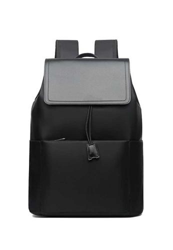 Lara black Men's Water-repellent Nylon Flap Drawstring Zipper Backpack - Black 5289CAC4EBE7F0GS_1