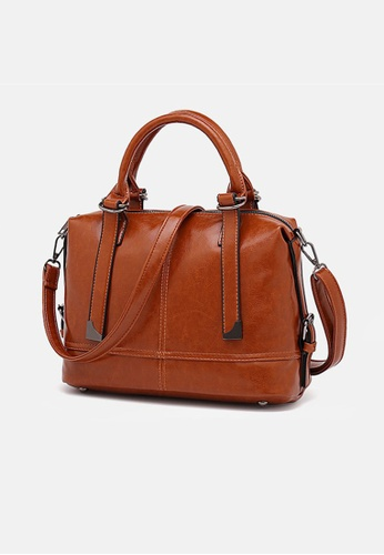 Lara brown Women's Fashionable Leather Zipper Handbag Cross-body Bag - Light Brown EB365AC6101DD6GS_1