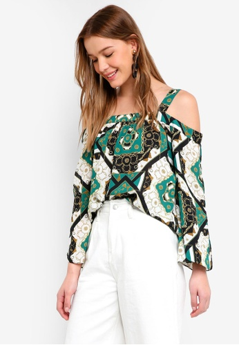 6003d7dac219cb Buy Dorothy Perkins Chain Print Cold Shoulder Top Online on ZALORA Singapore