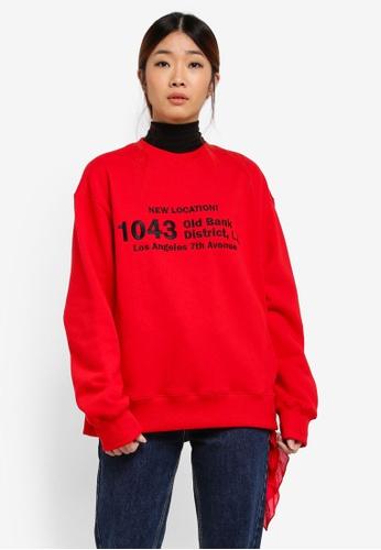 Stylenanda red 1043 Lettering Sweatshirt 05A36AA6283F26GS_1