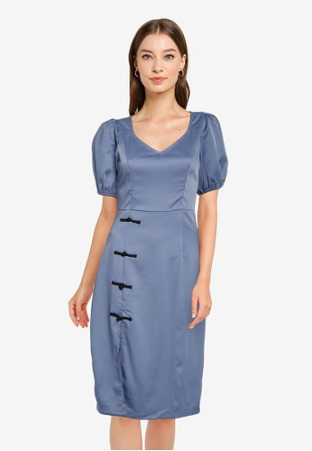 ZALORA OCCASION blue Puff Sleeves Heart Neck Dress B74FAAA301D4CFGS_1