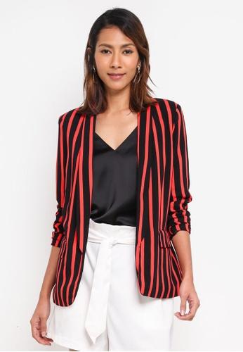 Vero Moda black and red Striped Blazer 0088DAA0FFFA03GS_1