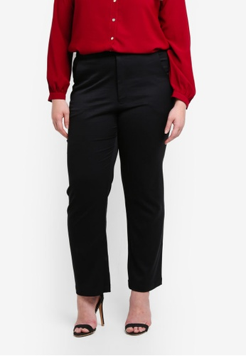 Ex'otico black Plus Size Basic Trousers 6329CAA84AC16BGS_1