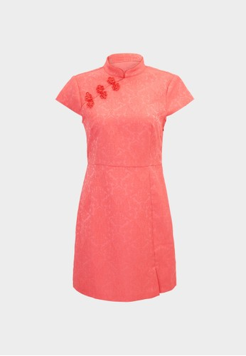 Pomelo pink High Neck Knot Button Dress - Pink 07B7EAA50874C1GS_1