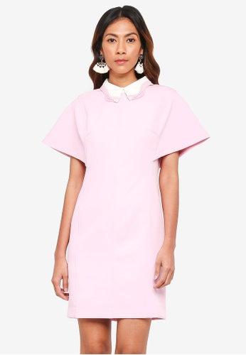 bYSI pink Structured Cape Sleeves Dress 3B070AA5350FBFGS_1