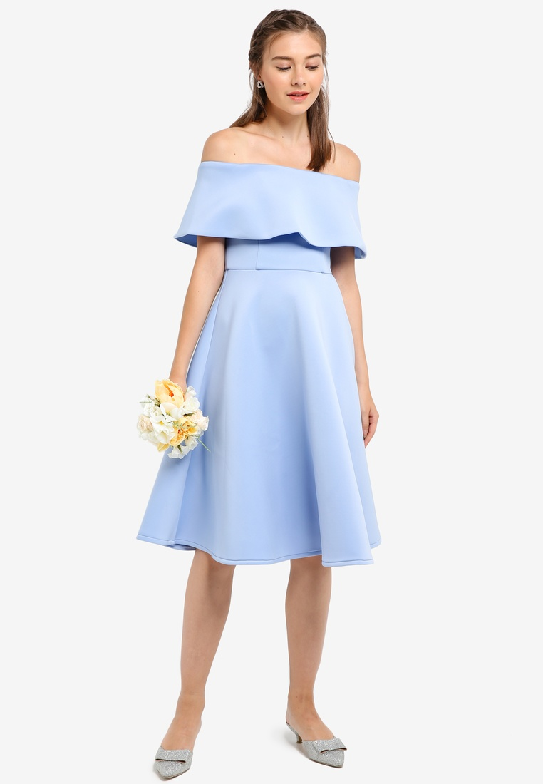 Off ZALORA Length Light Blue Shoulder Knee Bridesmaid Dress 84Wnnf