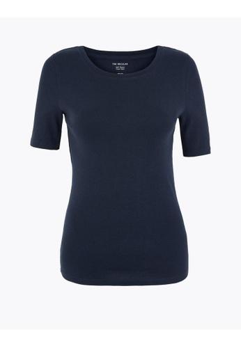 MARKS & SPENCER blue M&S Pure Cotton Regular Fit T-Shirt 1B6D4AACF5F36FGS_1