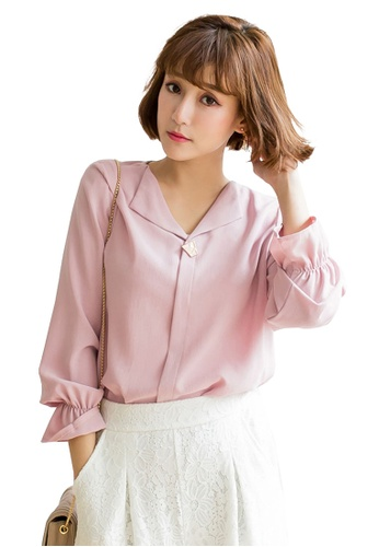Tokichoi pink Ruched Sleeves Blouse CE25DAAFD327E5GS_1