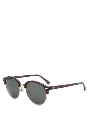 5462dd81edf39 Ray-Ban black and brown Clubround RB4246F Sunglasses RA896GL47MRCMY 1