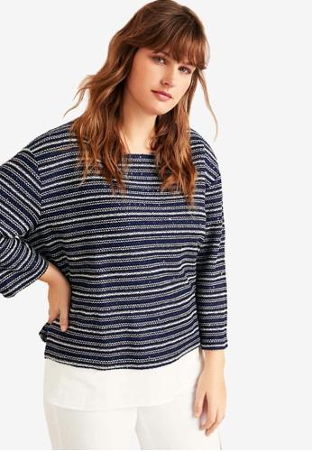 Violeta by MANGO blue and navy Plus Size Metallic Thread Sweatshirt 5C9ECAA938429EGS_1