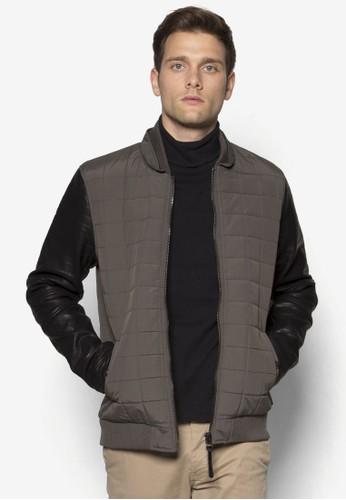 Esmond 仿皮拼接格紋外套,zalora 手錶 評價 服飾, 休閒外套及風衣