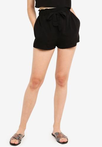 Factorie black Paperbag Woven Shorts 0D340AAD11569DGS_1