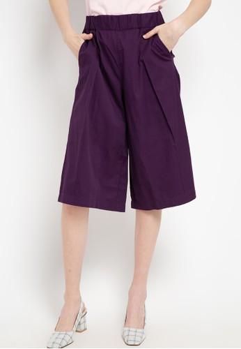 Giordano purple Women's Woven Culotte D8B4EAAA09B5BCGS_1