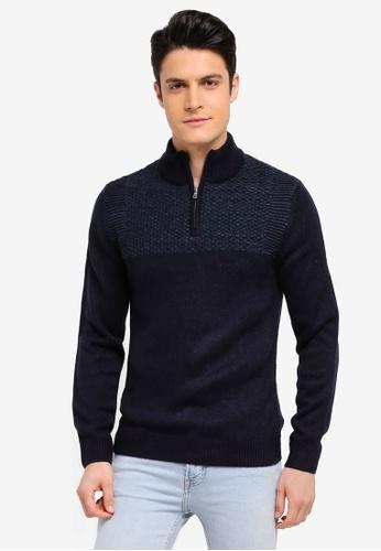 Burton Menswear London 海軍藍色 拉鍊式針織毛衣 79A7FAA9F8D247GS_1