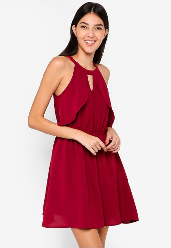 ZALORA red Ruffles Fit And Flare Dress 9E0A1AA49A3094GS_1