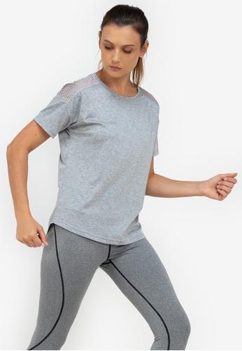 ZALORA ACTIVE grey Mesh Yoke Sports T-Shirt E15E2AA21365C1GS_1