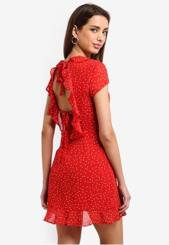 Bardot red Backless Spot Dress BA332AA0ST9GMY_1