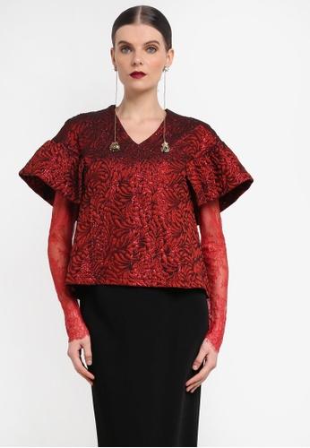 Rizalman for Zalora red Hamir Top Vneck Lace Sleeve RI909AA0SEZ3MY_1