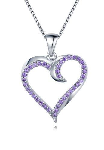 MBLife silver 925 Sterling Silver Purple CZ 'Only Love' Necklace 69BFAAC139836FGS_1