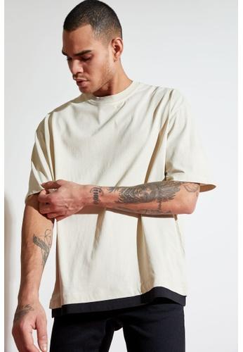 DeFacto beige Short Sleeve Round Neck Cotton Basic T-Shirt 49158AA7C4135BGS_1