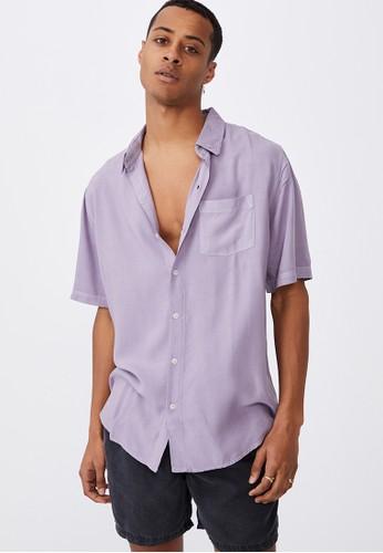 Cotton On purple Cuban Short Sleeve Shirt 3BFE1AA4E45B7AGS_1