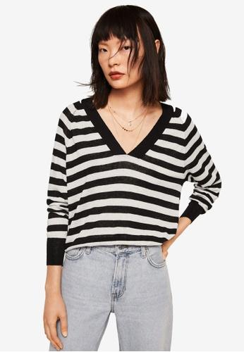MANGO black Striped Linen Sweater 26FEDAA7A95395GS_1