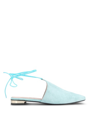 House of Avenues green Pointed Lace Up Flats HO685SH0RRBTMY_1