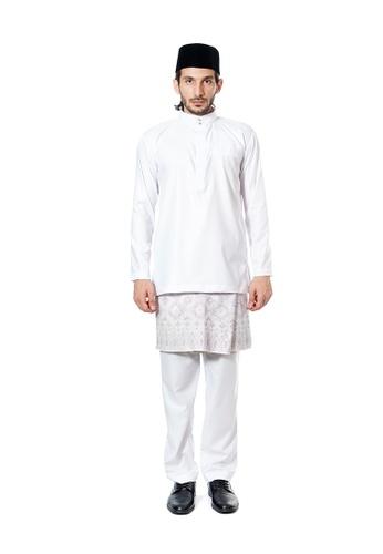 LARA NOUR white Baju Melayu Farhan Slim Fit EC75DAA69AD3E6GS_1