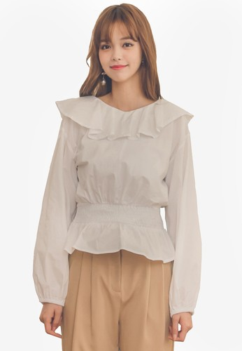Yoco white Frill Neckline Puff Sleeve Blouse 60805AA12F652BGS_1