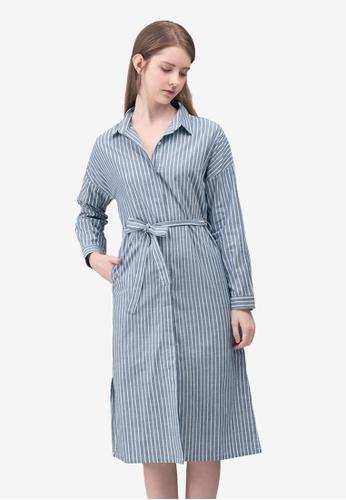 Kodz blue Striped Shirt Midi Dress 52C62AA46ED969GS_1
