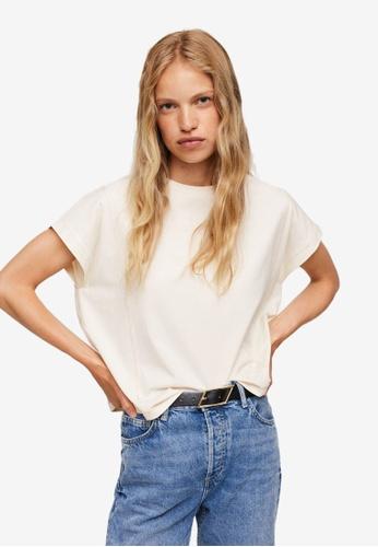 Mango white Essential Cotton-Blend T-Shirt 96543AAB697EF4GS_1