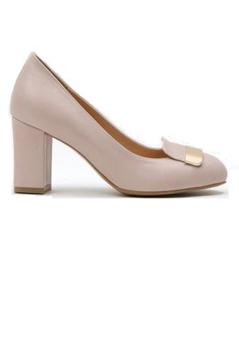 Crystal Korea Fashion 粉紅色 韓國新款金屬粗跟鞋 F85C5SH3A8CA88GS_1