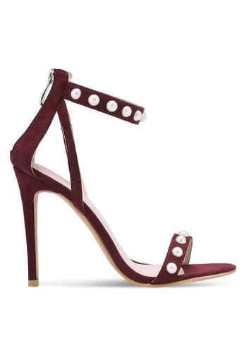 Velvet red Pearl Embellished Open Toe Heels DDDD7ZZ2A10658GS_1