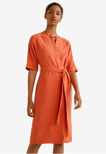 Mango orange Striped Shirt Dress 38B88AA32B0511GS_1